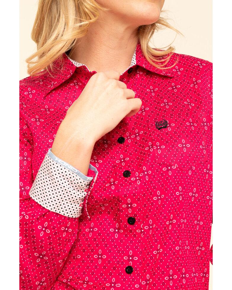 Cinch Women's Fuchsia Tile Print Button Long Sleeve Western Shirt, Dark Pink, hi-res