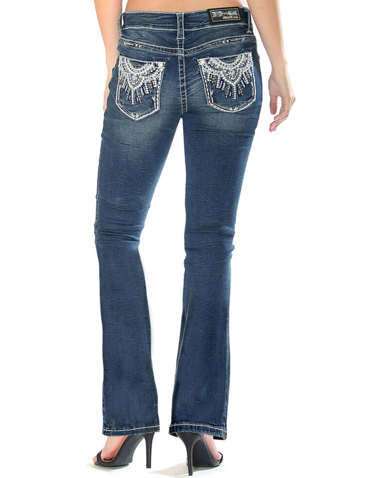 Top Grace in LA Women's Medallion Pocket Boot Cut Jeans supplier