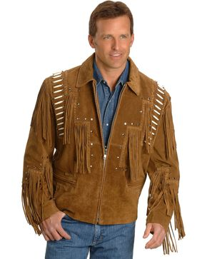 Liberty Wear Bone Fringed Leather Jacket - Big & Tall, Tobacco, hi-res