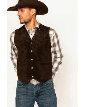 Cody James Men's Apparel Western Vests Leather, Brown, hi-res