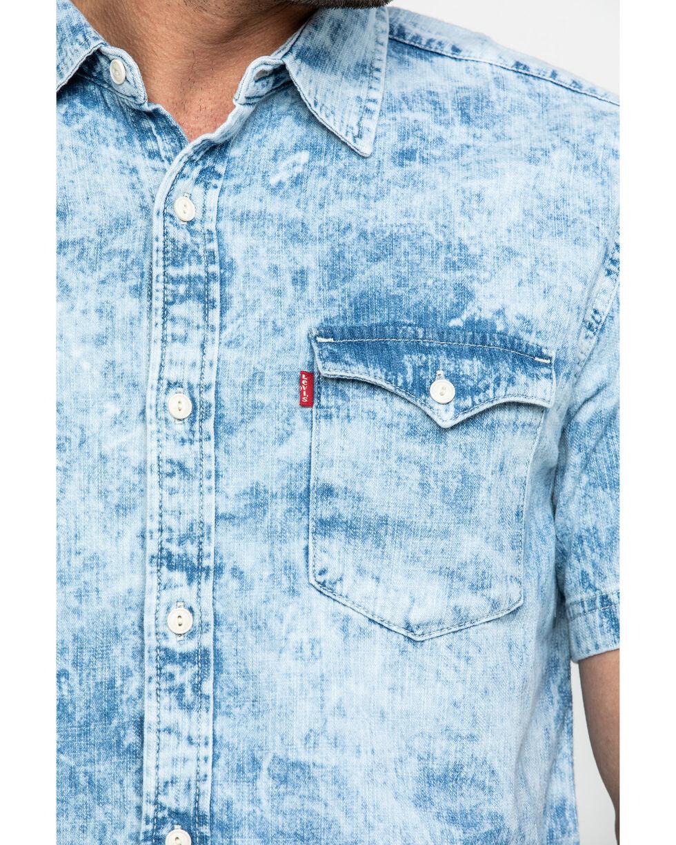 Levis Men's Grey Nevin Denim Short Sleeve Western Shirt , Grey, hi-res