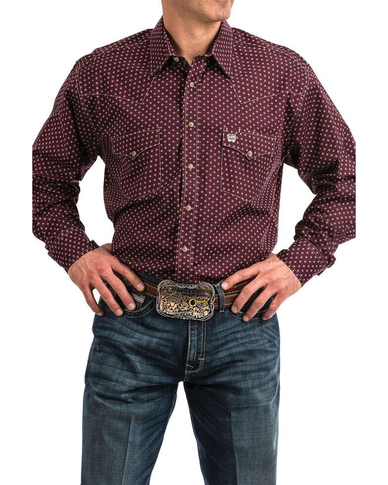 Cinch Men's Purple Dot Diamond Geo Print Long Sleeve Western Shirt , Purple, hi-res