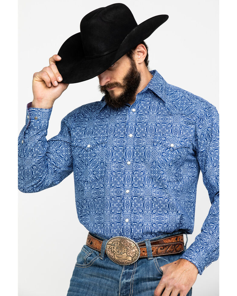 Rough Stock by Panhandle Men's Mirada Stretch Vintage Print Long Sleeve Western Shirt , Heather Blue, hi-res