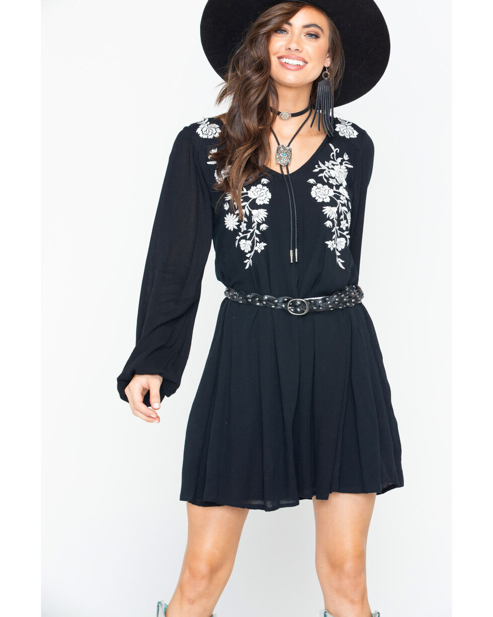Rock & Roll Cowgirl Women's Black Floral Embroidered Dress , Black, hi-res