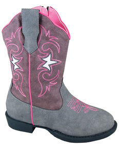 Smoky Mountain Toddler Girls' Austin Lights Western Boots - Round Toe, Grey, hi-res