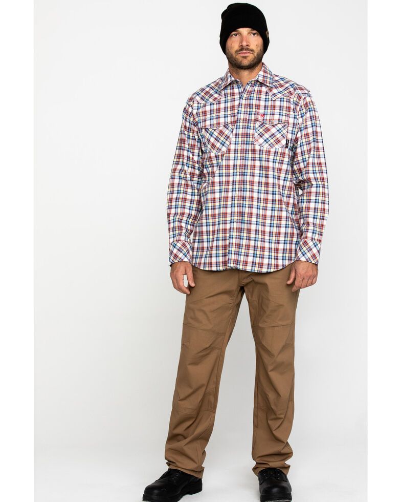 Ariat Men's FR Granite Retro Plaid Long Sleeve Work Shirt - Big , No Color, hi-res