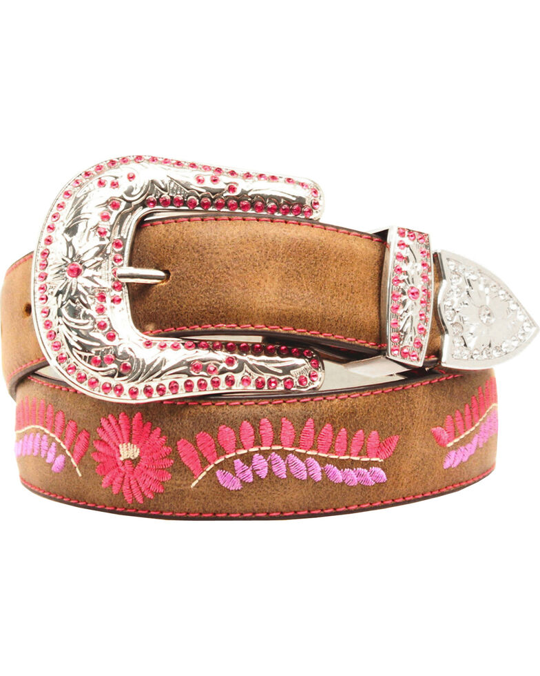 Blazin Roxx Floral Embroidered Belt, Brown, hi-res