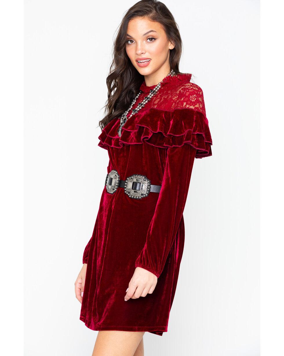 Miss Me Women's Wine Crushing It Ruffle Dress , Wine, hi-res