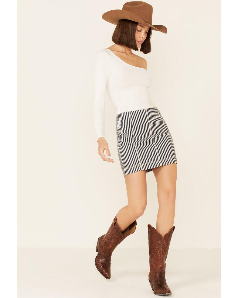 Jolt Women's Indigo Stripe Denim Mini Skirt, Indigo, hi-res