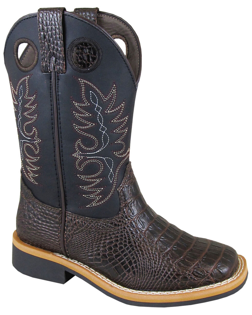 Smoky Mountain Boys' Faux Gator Western Boots - Square Toe, Chocolate, hi-res