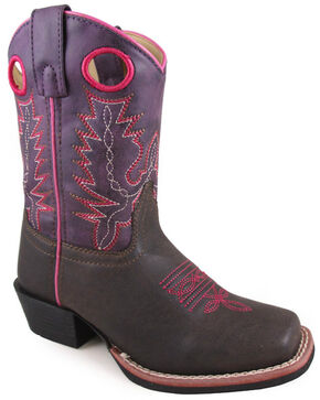 Swift Creek Youth Girls' Western Boots - Square Toe, Brown, hi-res