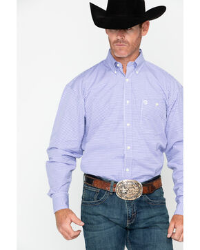 George Strait by Wrangler Men's Mini Check Plaid Long Sleeve Shirt , Purple, hi-res