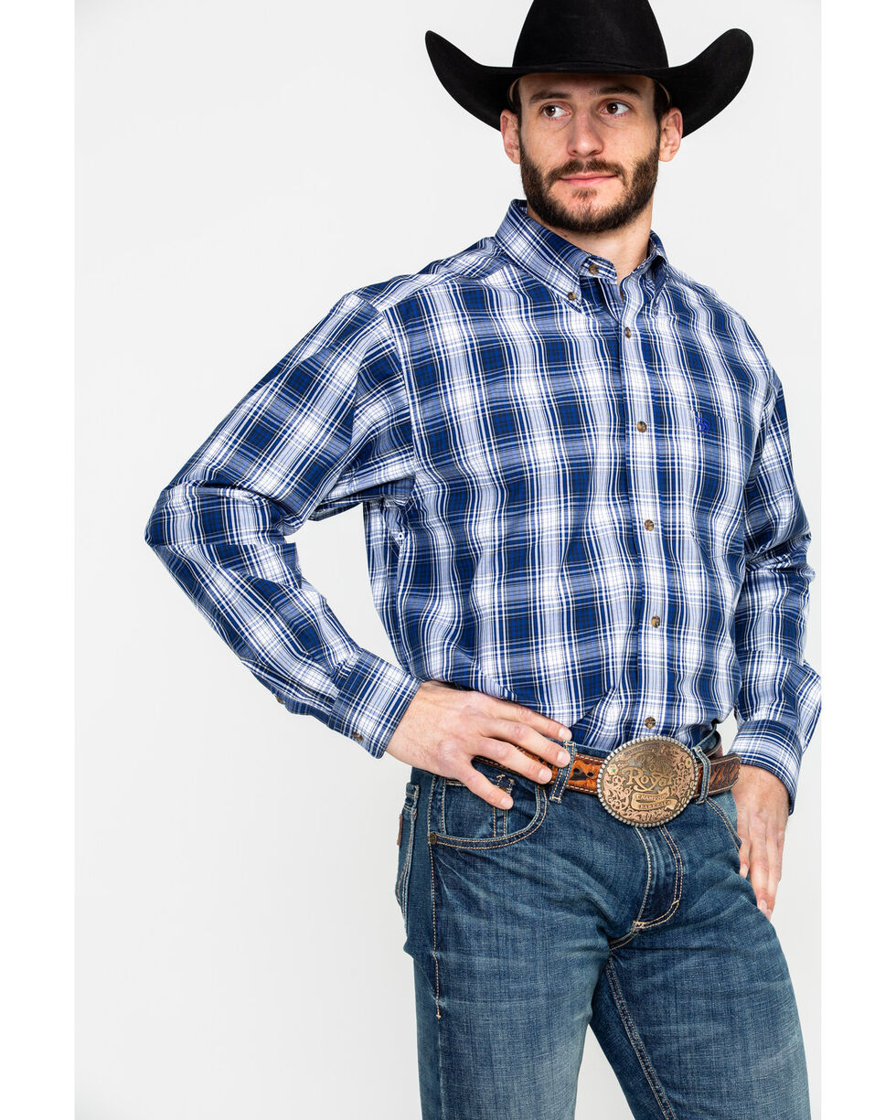 Ariat Men's Gallahan Large Plaid Long Sleeve Western Shirt , Blue, hi-res