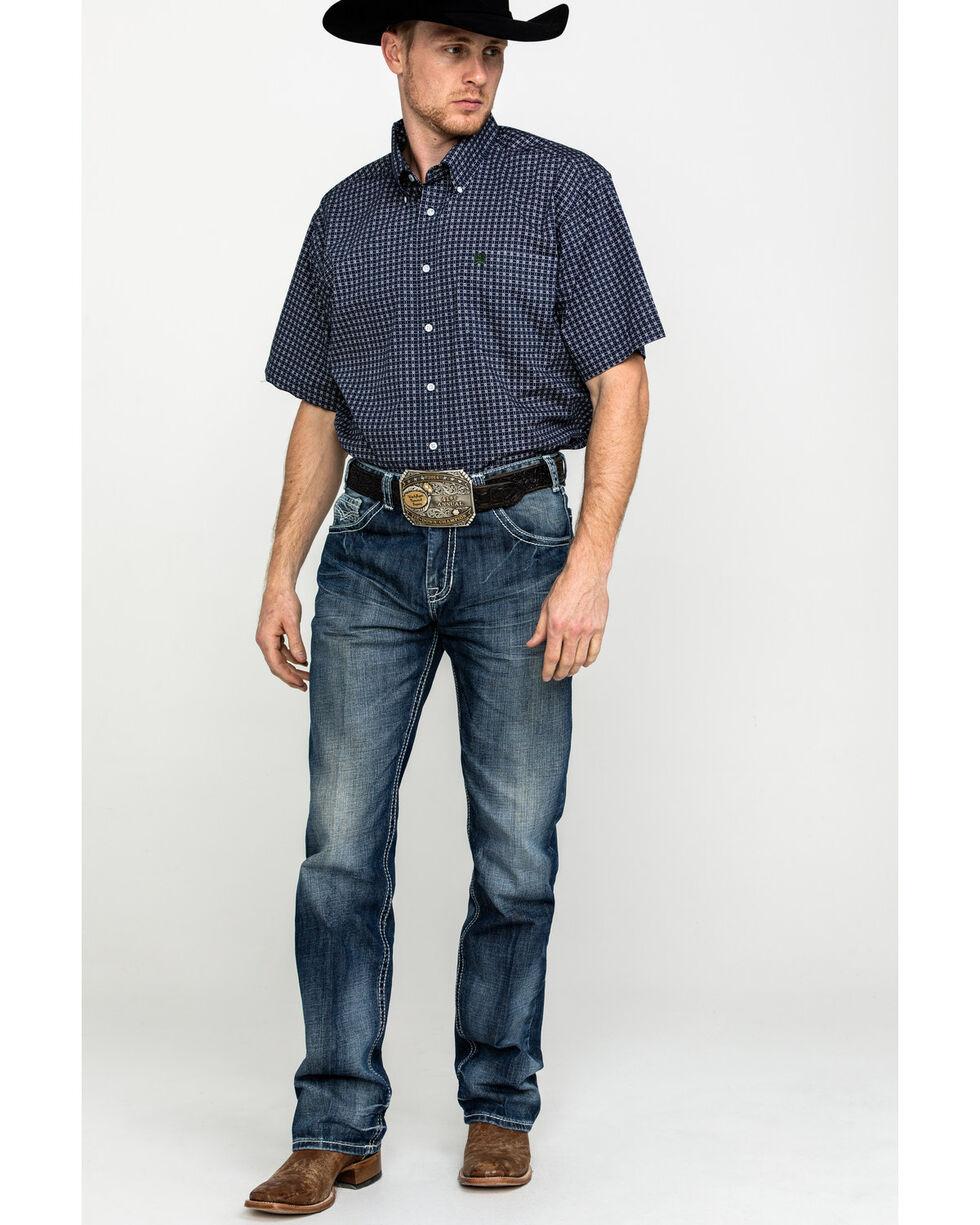 Cinch Men's Multi Color Geo Print Short Sleeve Western Shirt , Navy, hi-res