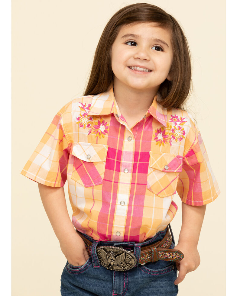 Shyanne Toddler Girls' Orange & Pink Medium Plaid Snap Short Sleeve Western Shirt, Orange, hi-res
