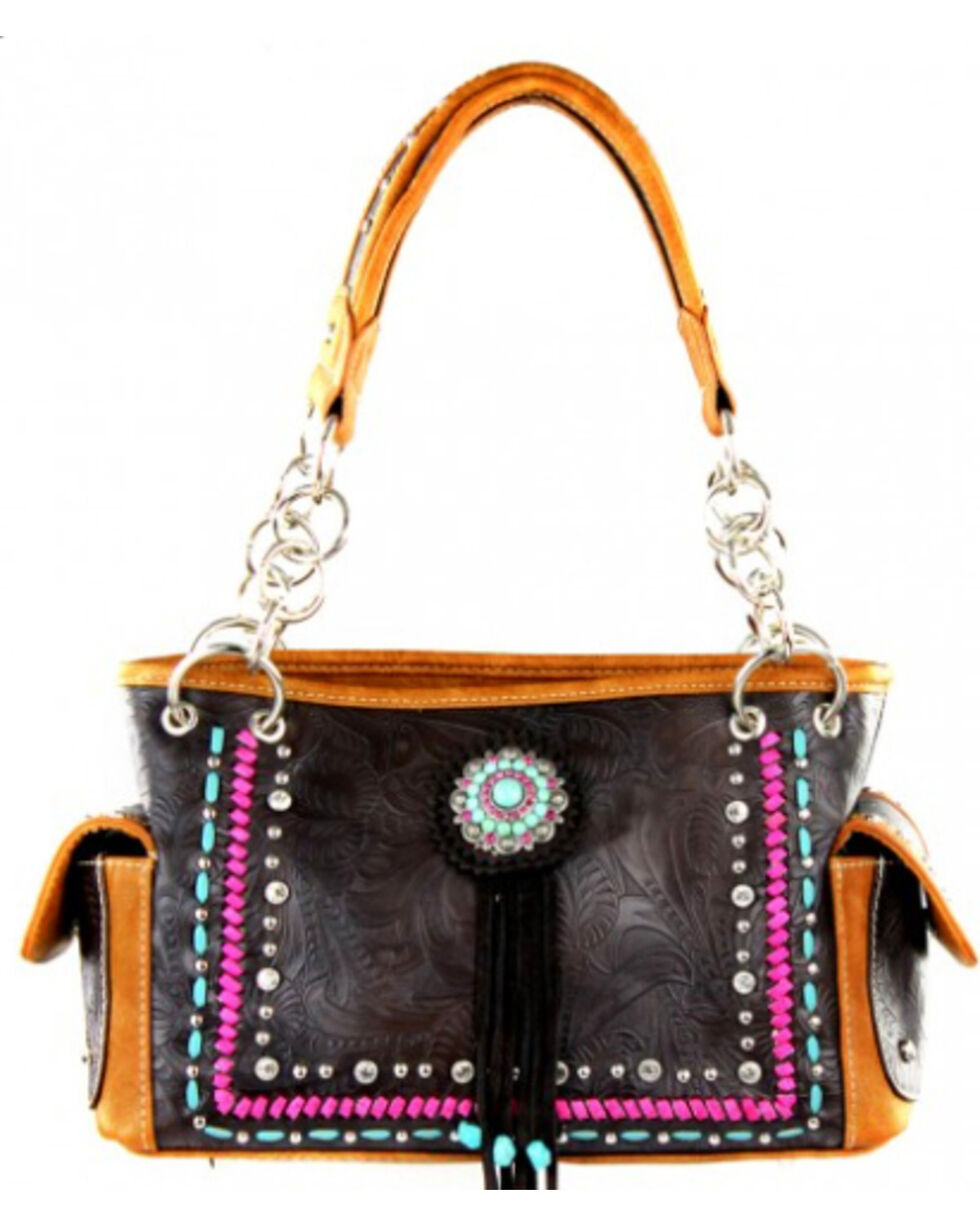 Montana West Concho Collection Handbag, Brown, hi-res