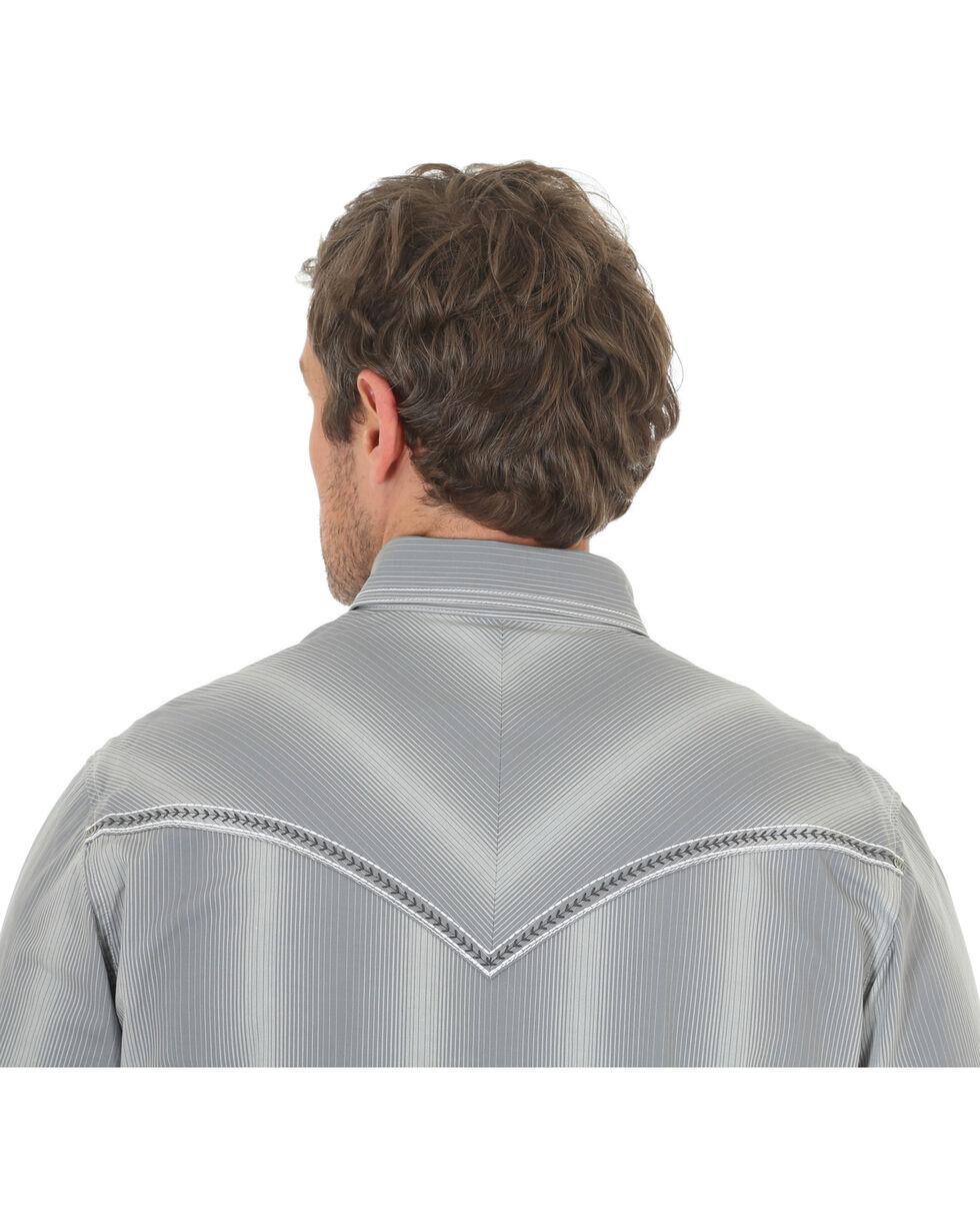 Wrangler Rock 47 Men's Vertical Stripe Long Sleeve Snap Shirt, Grey, hi-res