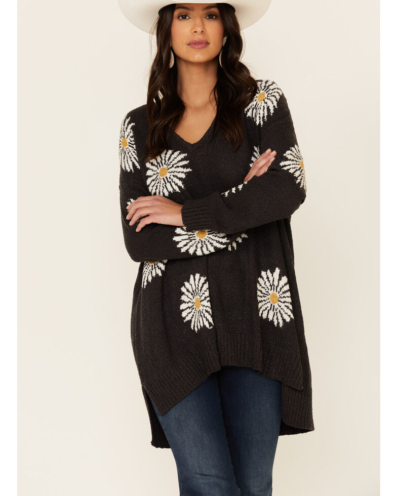 Show Me Your Mumu Women's Daisy Print Hug Me Sweater , Grey, hi-res