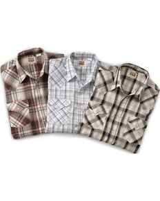 Ely Cattleman Men's Assorted Plaid & Stripe Long Sleeve Western Shirts - Big & Tall, Plaid, hi-res