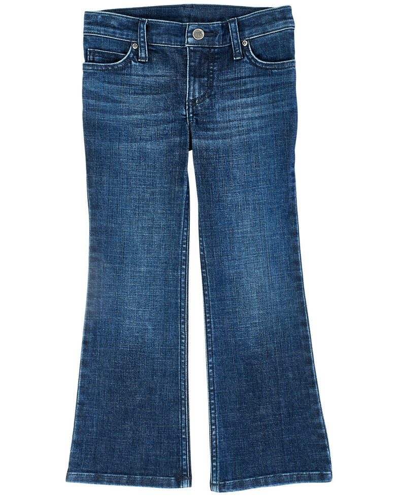 Wrangler Girls' Medium Wash Zoe Bootcut Jeans, Blue, hi-res