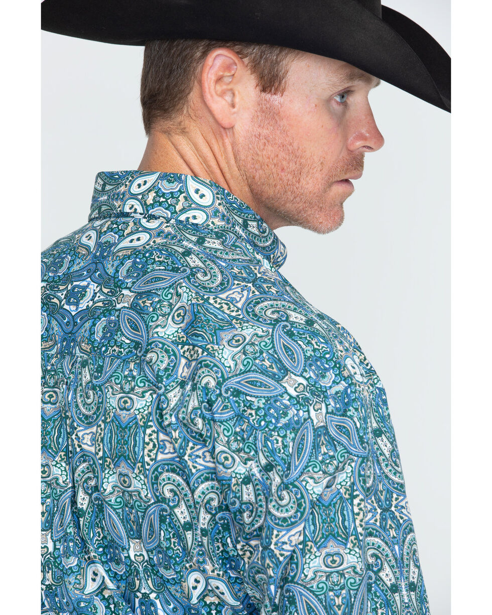 George Strait by Wrangler Men's Long Sleeve Print Shirt , Forest Green, hi-res