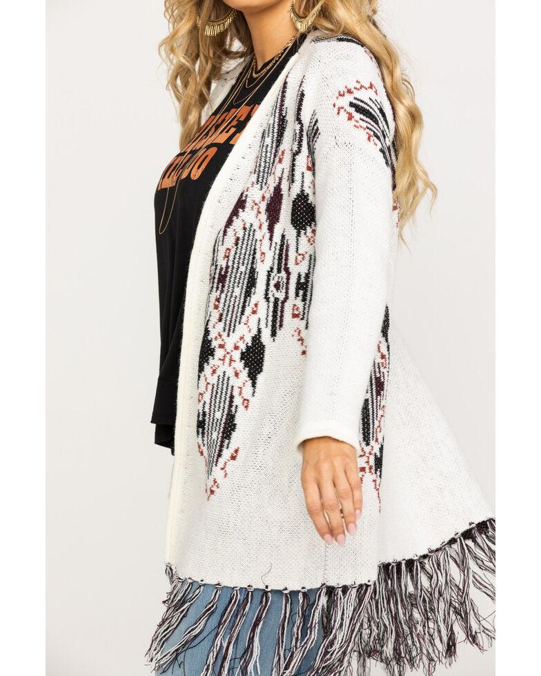 Shyanne Women's Aztec Over-sized Fringe Cardigan, Ivory, hi-res