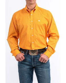 Cinch Men's Orange Square Geo Print Long Sleeve Western Shirt , Orange, hi-res