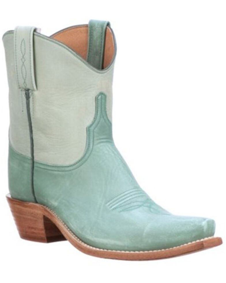 Lucchese Women's Gaby Blue Two-Tone Western Booties - Snip Toe, Blue, hi-res
