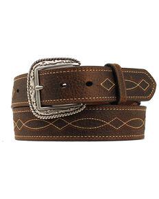 Ariat Men's Boot Stitch Western Belt, Brown, hi-res