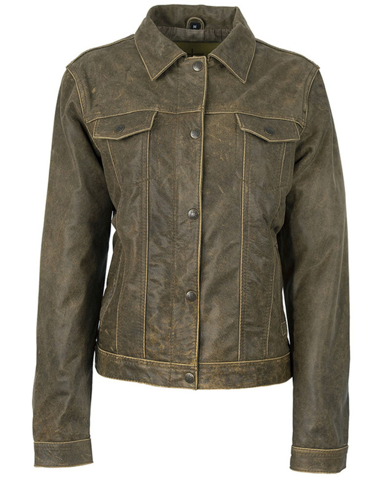 STS Ranchwear Women's Cartwright Leather Jacket - Plus, Olive, hi-res