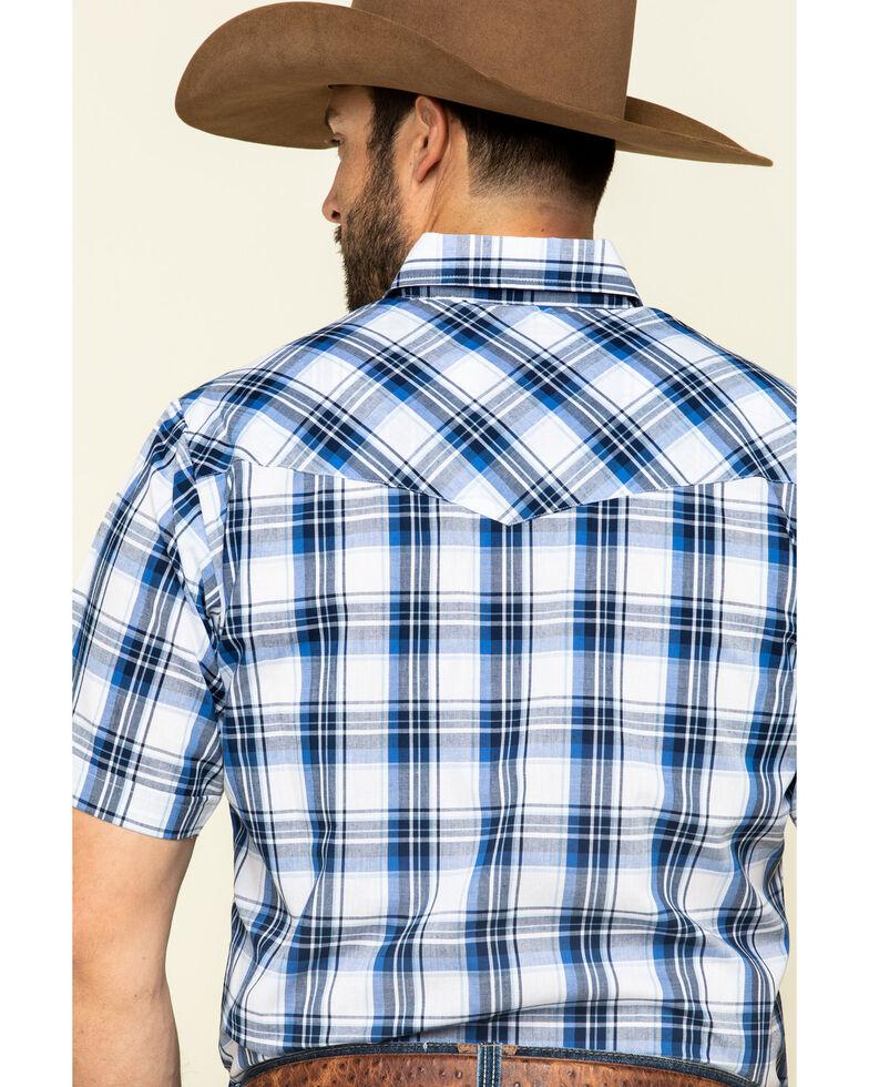 Ely Cattleman Men's Multi Med Plaid Snap Short Sleeve Western Shirt - Tall , Navy, hi-res