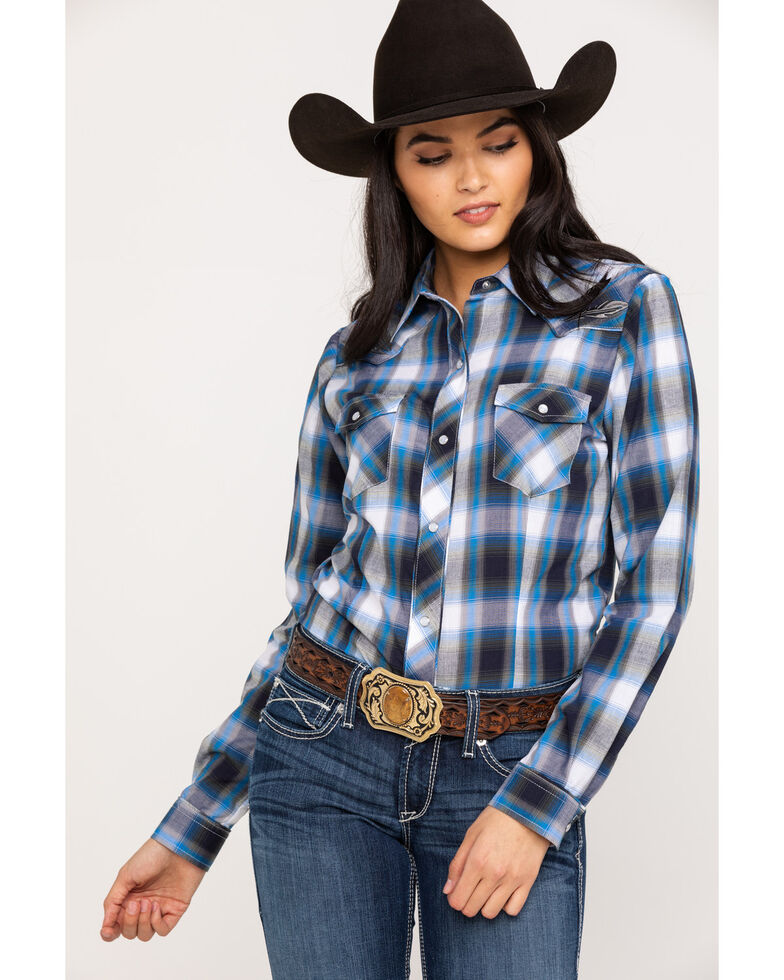 Roper Women's Blue Plaid Feather Embroidered Long Sleeve Western Shirt , Blue, hi-res