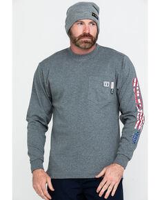 Wolverine Men's FR Texas Graphic Long Sleeve Pocket Work Shirt , Ash, hi-res