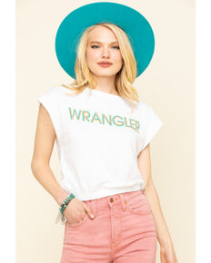 Wrangler Modern Women's White Logo High Rib Cropped Tee, White, hi-res