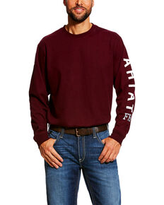 Ariat Men's Red FR Roughneck Skull Logo Crew Long Sleeve Work Tee - Tall , Red, hi-res