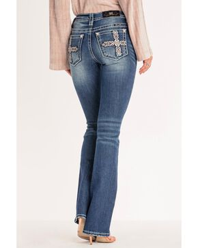 Miss Me Women's Aztec Inspired Mid-Rise Boot Jeans , Blue, hi-res