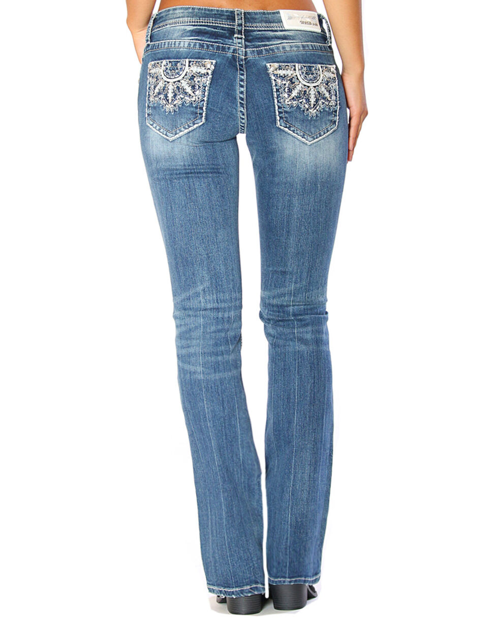 Grace in LA Women's Medallion Embroidered Easy Boot Cut Jeans , , hi-res