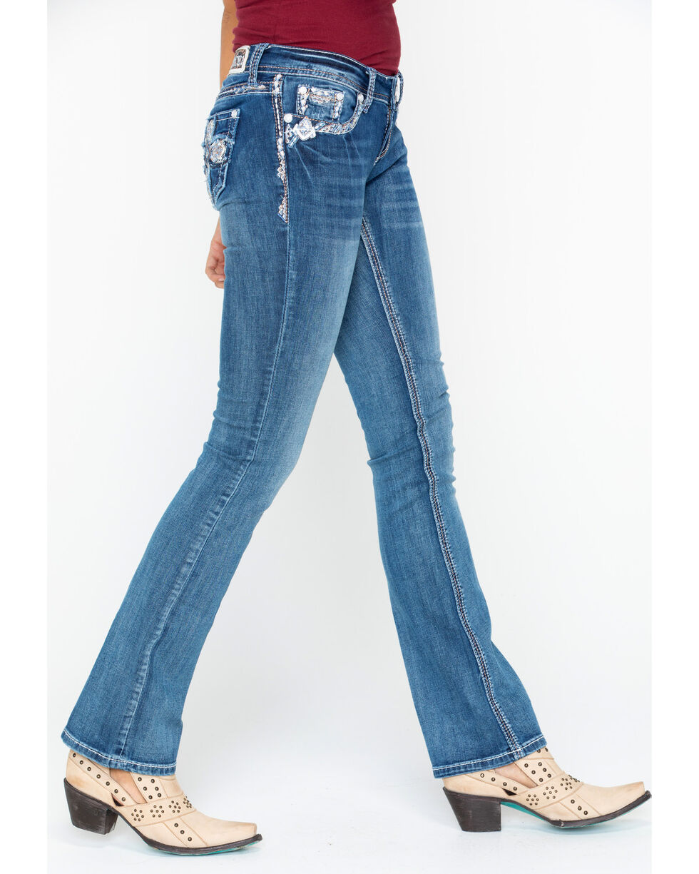 Grace In LA Embroidered Cross Boot Jeans , Blue, hi-res