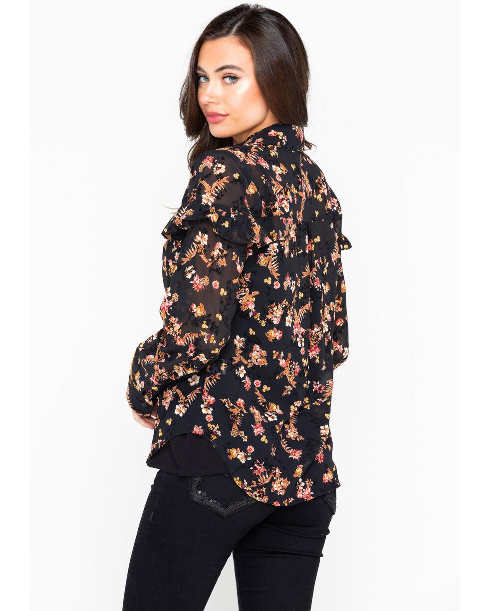 Tempted Women's Floral Print Button Long Sleeve Western Shirt , Black, hi-res
