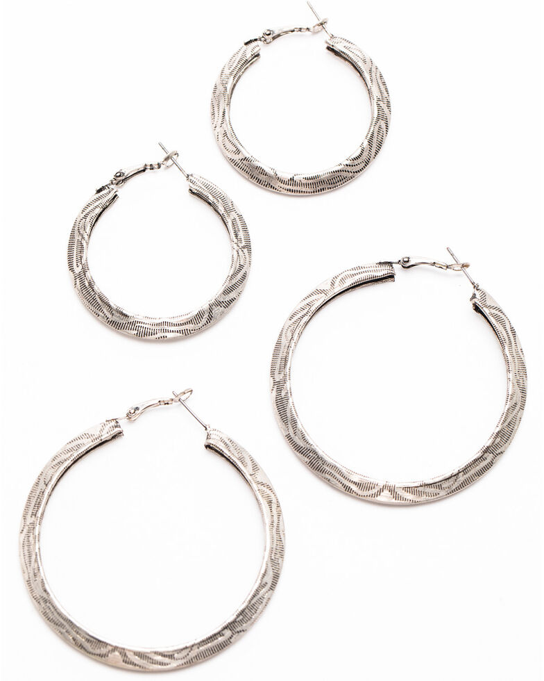 Shyanne Women's Autumn Textured Hoop Earnings , Silver, hi-res