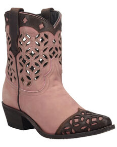 Laredo Women's Pink Cutout Fashion Booties - Snip Toe, Pink, hi-res