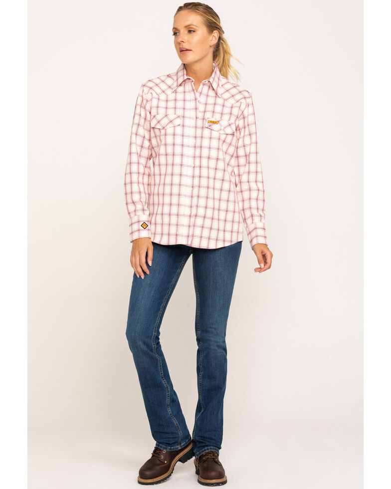 Wrangler Women's Pink FR Plaid Shirt , Pink, hi-res
