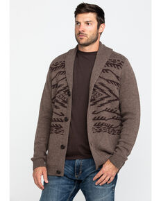 Moonshine Spirit Men's Aztec Print Cardigan , Dark Brown, hi-res