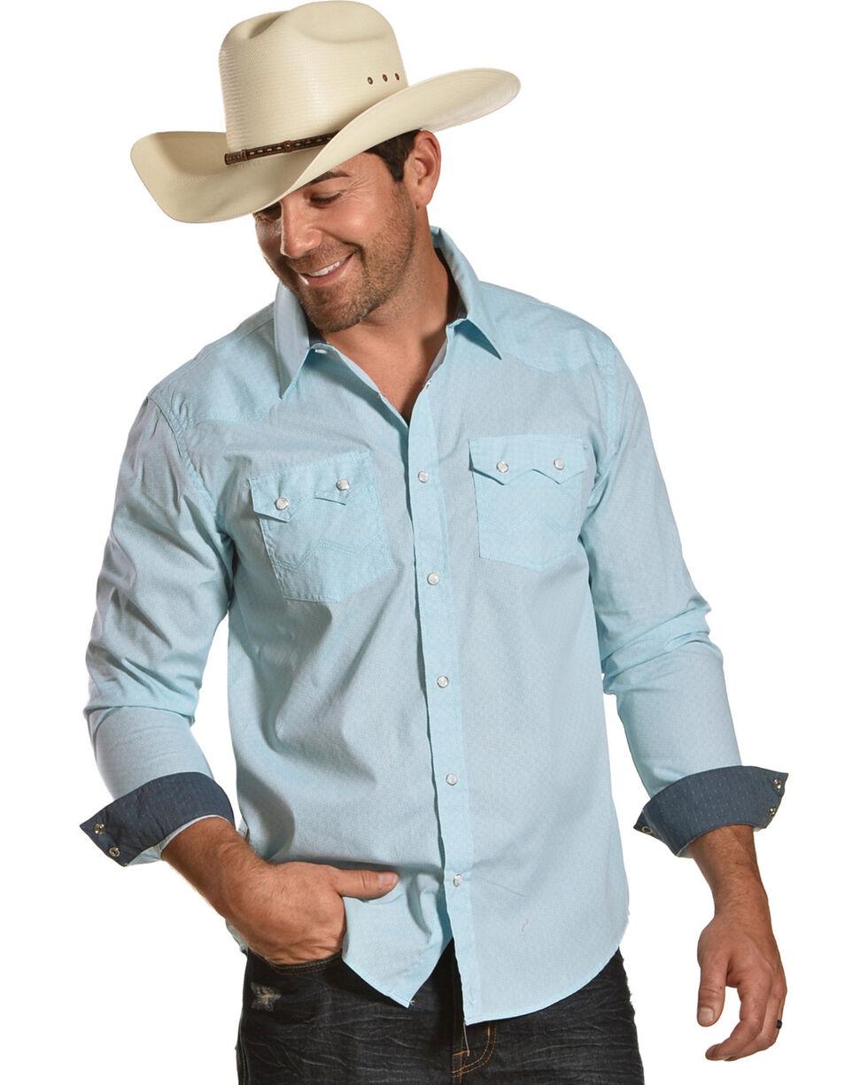 Cody James Men's Revolver Blue Geo Print Long Sleeve Western Snap Shirt, Light Blue, hi-res