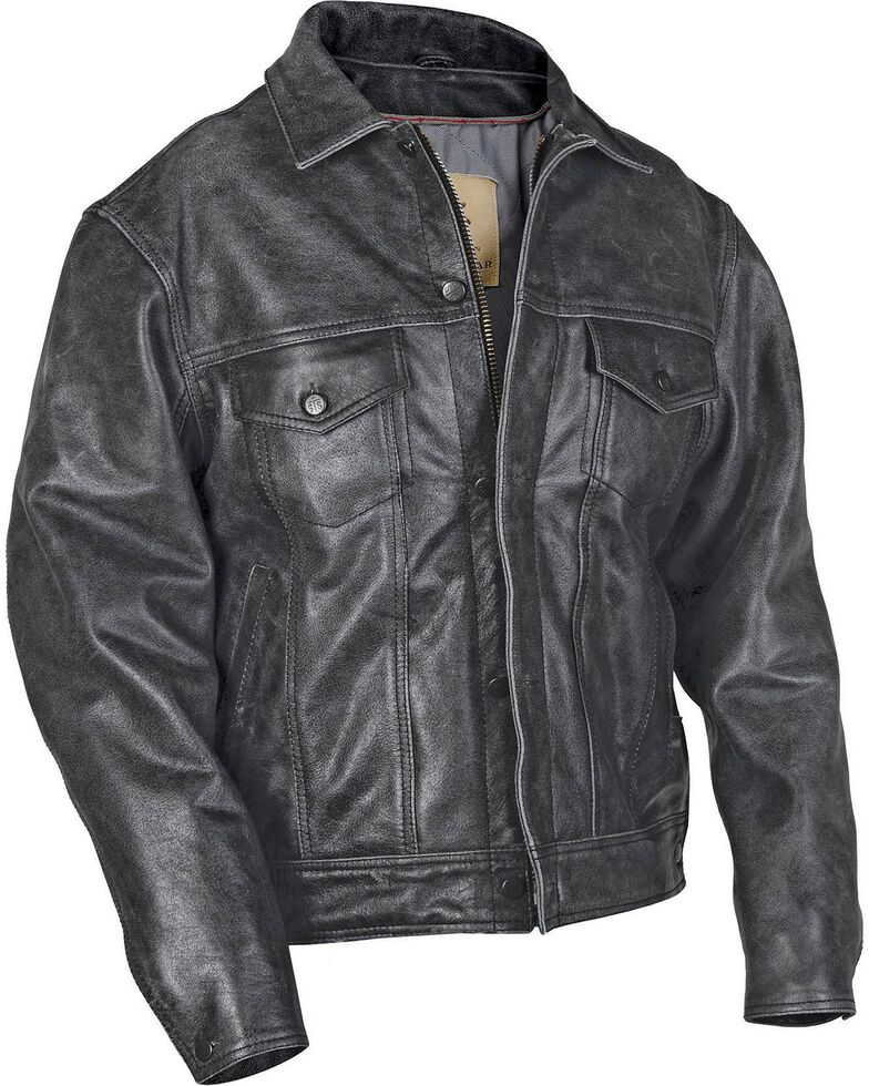 4b12ee069d1928 Sts Ranchwear Men S Maverick Black Leather Jacket Big Tall 4xl