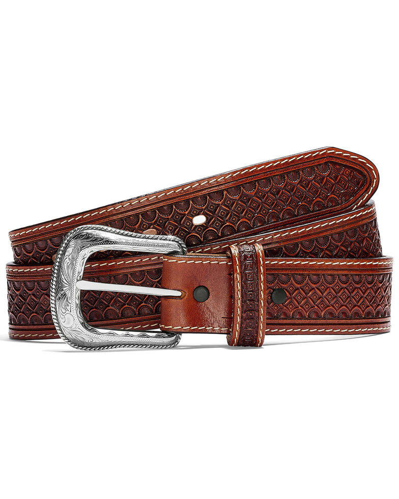 Leegin Men's Diamondback Western Belt, Brown, hi-res