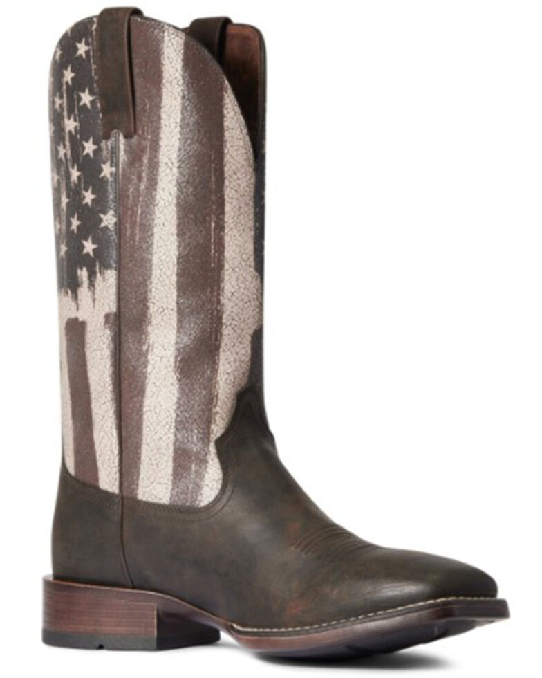 Ariat Men's Taylor Tan Distressed Flag Patriot Ultra Full-Grain Western Boot - Wide Square Toe, Brown, hi-res