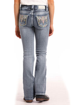 Rock & Roll Cowgirl Girls' Embroidered Light Vintage Wash Jeans (4-16) - Boot Cut, Indigo, hi-res