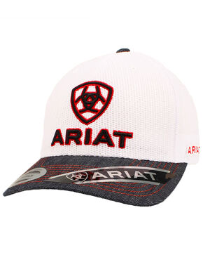 Ariat Denim Trucker Cap, White, hi-res