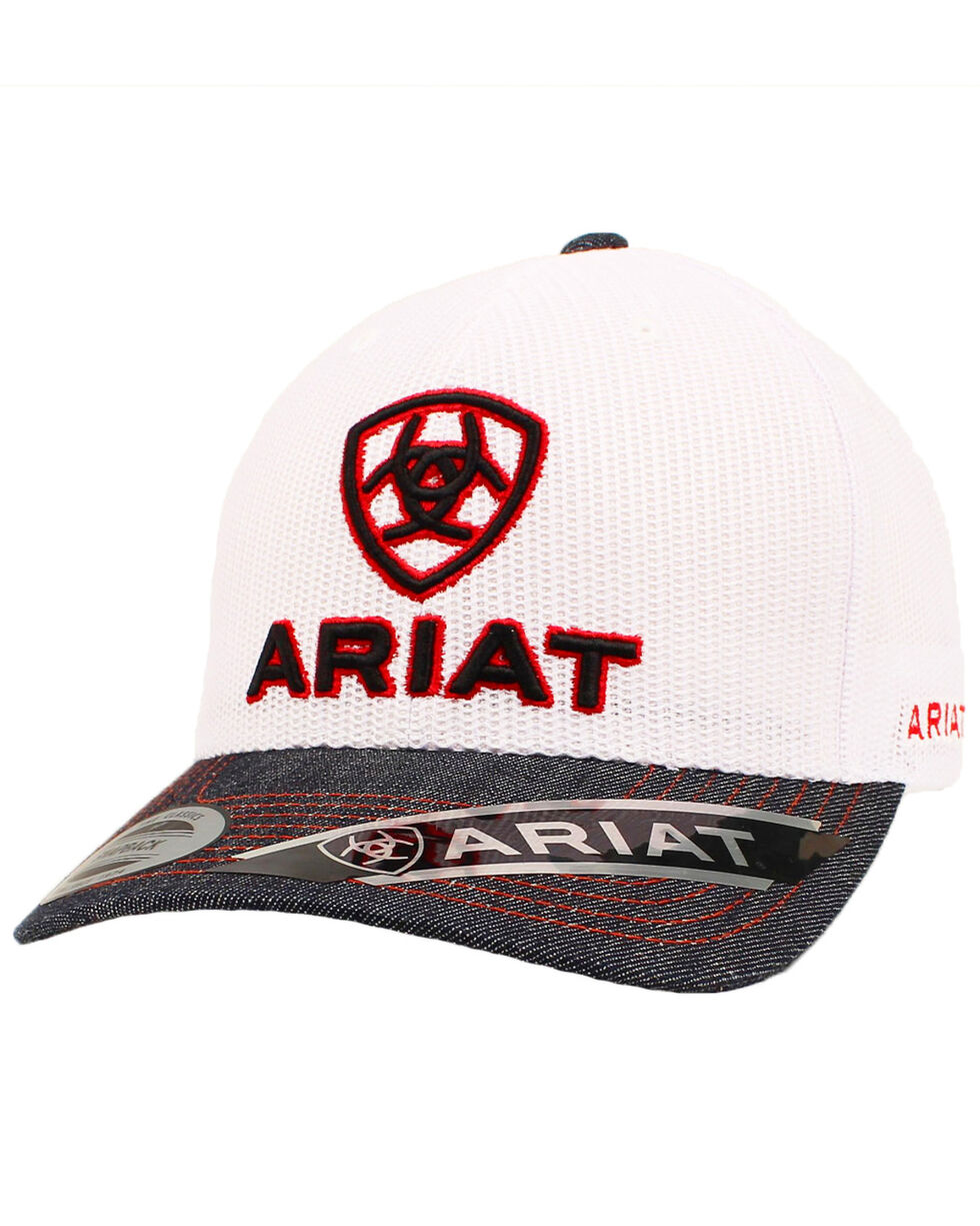 Ariat Denim Trucker Cap, White, hi-res